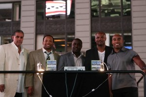Second from left to right: Jamal Anderson, Marshall Faulk, Warren Moon and Tiki Barber